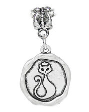 Cat Wax Stamp Kitty Halloween Medallion Dangle Charm fits European Bead Bracelet
