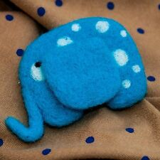 Blue elephant felt brooch Fantasy animal