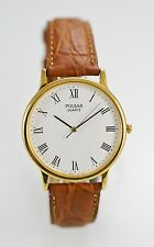 Pulsar Watch Mens Brown Leather Stainless Steel Gold Water Resist White Quartz