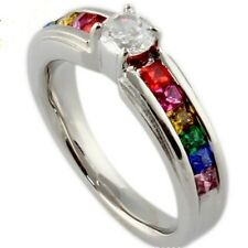Stainless Steel Solitaire Ring Size 5 6 7 8 Lesbian Gay Rainbow Free Shipping