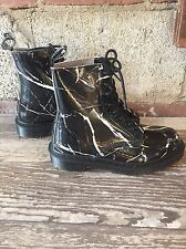 New Dr. Doc Martens Pascal Boots Patent Marble Black Leather Women's 6 UK 4