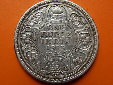 """George V King Emperor One Rupee """"1913"""" Bombay Mint Original Silver Coin"""