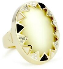 HOUSE OF HARLOW 1960 14K Gold-Plated Stone & Crystal Ring SIZE 7 $75 NWT