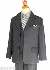 BOYS PINSTRIPES GRADUATION, RECITAL SUIT SET, GRAY/SILVER, SZ: 14 (15 years old)