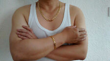 "Gold Filled 8mm 24"" Necklace 8"" Bracelet Chain Set Gift Box Men Fathers Birthday"