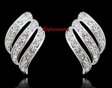 18k White Gold Filled Clear Swarovski Crystal Feather Inspired Stud Earring IE17