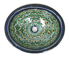 #035 SMALL BATHROOM SINK 16x11.5 MEXICAN CERAMIC HAND PAINT DROP IN UNDERMOUNT