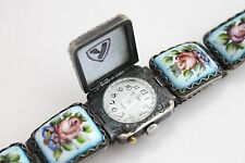 Yanka Russian PORCELAIN Watch Bracelet Chaika Enamel mechanical Filigree Finift