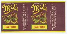 McE cayenne, vintage can label, Albert Mackie co. New Orleans LA