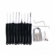 New Transparent Practice Padlock With 9 Pcs Pick Set Training Tool Set Locksmith