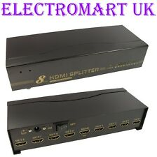 8 WAY 1 IN 8 OUT HDMI DISTRIBUTION SPLITTER AMPLIFIER FULL 1080P