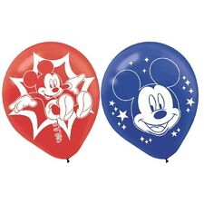 6 Disney Mickey Mouse and Friends Party Red Blue Printed Latex Balloons
