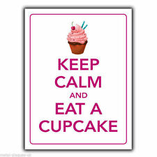METAL SIGN WALL PLAQUE KEEP CALM AND EAT A CUPCAKE art print poster picture