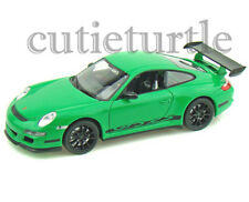 "4.5"" Welly Porsche 911 997 GT3 RS 1:32 Diecast Toy Car Green With Black Wheels"