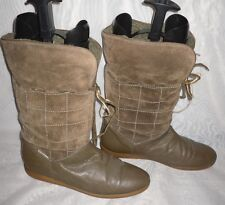 WOMENS SPEEDY DUCK BROWN PULL ON LEATHER/SUEDE SNOW WINTER BOOTS SZ:7/41(WB471)