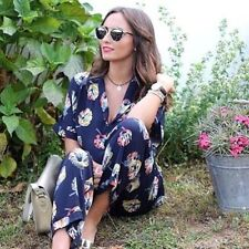 BNWT ZARA 2015 COLLECTION FLORAL JUMPSUIT WITH LAPEL COLLAR Size M BLOGGER