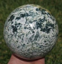 3LB 12.2OZ Natural Moss Agate Crystal Sphere Ball