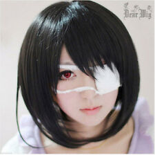 PRO Fashion Girls Mei Misaki Black Short Cosplay Wig Daily Wear Costumes Wig+Cap