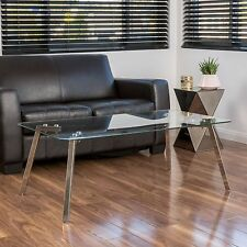 Contemporary Tempered Glass Rectangle Coffee Table