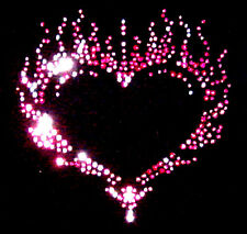 PINK FLAMING HEART RHINESTUD  IRON ON T SHIRT MOTIF DESIGN