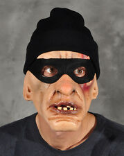 Thug Robber Scary Man Adult Halloween Latex Mask & Attached Cap