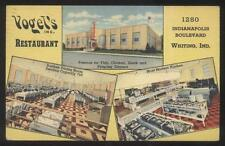 POSTCARD WHITING IN/INDIANA VOGEL'S RESTAURANT TRI-VIEW 1930'S