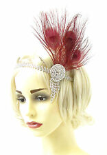Burgundy Red Silver Feather Headdress Headband 1920s Flapper Great Gatsby 912