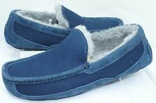 Ugg Australia Mens Shoes Ascot Wool Blue Slippers Size 8 Slip Ones Moccasins NIB