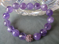 New Natural Amethyst Crystal 12mm Beaded Cuff Bracelet w/Focal--Rustic Style