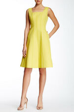 NWT $548 Lafayette 148 Adelaide yellow citron Pocket sleeveless Dress 10