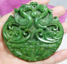 CHINESE OLD HANDWORK CARVE GREEN JADE PHOENIX PENDANT STATUARY