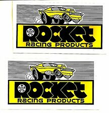2 x Rocket Racing Decal Sticker 5-1/2 Inch Long Size Vintage