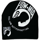 Embroidered Black and White POW MIA Logo Beanie Knit Stocking Cap Skully Hat