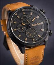TIMBERLAND HENNIKER BLACK MENS MULTIFUNCTION WATCH BROWN LEATHER STRAP