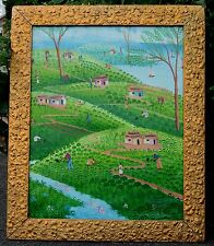 "1987 HAITIAN FINE OIL PAINTING FRAMED CANVAS by B. JOSEPH-HAITI-27 1/4"" X 33"""