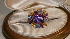 John c Rinker JCR 14k Yellow gold Amethyst Swiss Blue Topaz Citrine flower Ring