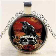 Skull Raven With Moon Cabochon Glass Tibet Silver Chain Pendant  Necklace#1690