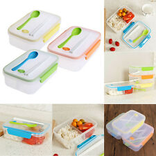 Three Compartments Lunch Bento Box Food Snack Container Transparent  Storage box