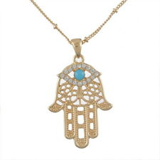 Hamsa Lucky Fatima Hand Pendant Necklace Evil Eye Turquoise Golden