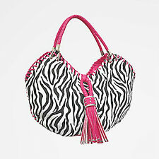 Large Black White Zebra Print Tote Handbag Purse Pink Trim Tassel Cowgirl GGing