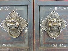 Vintage Feng Shui Bronze Foo Dog Kirin Door Holder Gate Knockers Pair 6 1/4""