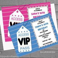 Personalised Girls Boys VIP Ticket Birthday Party Invitations x12 +envs H0039
