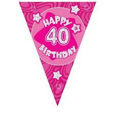 3.6m/12ft  Pink Holographic 40th Birthday Flag Banner  Bunting