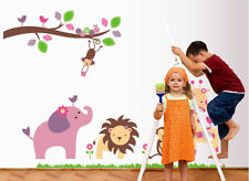 Jungle Animal(elephant/giraffe/lion/monkey)Tree flower Nursery/Baby Wall sticker