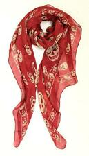 Alexander McQueen Red & Beige Skull Print Silk Scarf