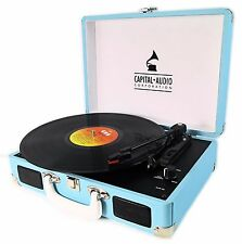 CAPITAL RETRO SKY BLUE VINYL RECORD PLAYER SUITCASE BRIEFCASE ATTACHE TURNTABLE