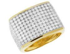 10K Yellow Gold Men's Pave Iced Genuine Diamond Wedding Pinky Ring Band 4CT 17MM