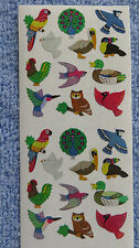 Sandylion BIRDS OF COLOR Strip of 2 Sqs RETIRED Prism Stickers RARE LIMITED