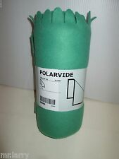 "IKEA BRAND POLARVIDE POLAR FLEECE SCALLOP FRINGED BLANKET THROW GREEN 51""X67"""