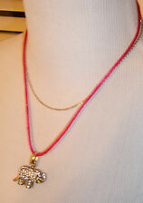 BETSEY JOHNSON PINK 3 WAYS PAVE ELEPHANT CHARM NECKLACE NWT